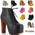10 estilo Lita plataforma de espessura de salto alto Lace Up moda feminina Ladies outono marca botas de couro do Vintage tornozelo sapatos para 2016 novo