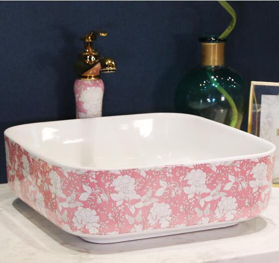 Cheap Quadrat Rosa Waschbecken Keramik Waschbecken Waschbecken In Quadrat  Rosa Waschbecken Keramik Waschbecken Waschbecken Aus Bad With Waschbecken  Auf