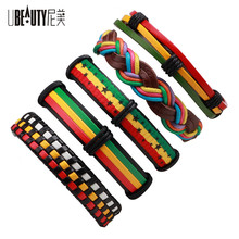 UBEAUTY New Arrival 6pcs/set Adjustable Multilayer Leather Braid Rope Wrap Bracelet for Women Men Jewelry