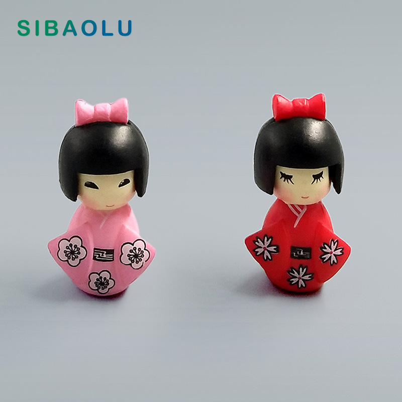 Janpanese Girl Traditional Cloth Miniature Figurine Decorative  Fairy Garden Animal Statue Miniature Moss Ornaments Resin