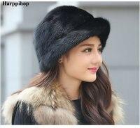 Winter 2017 women's full leather fur hat mink skin hat fur hat female