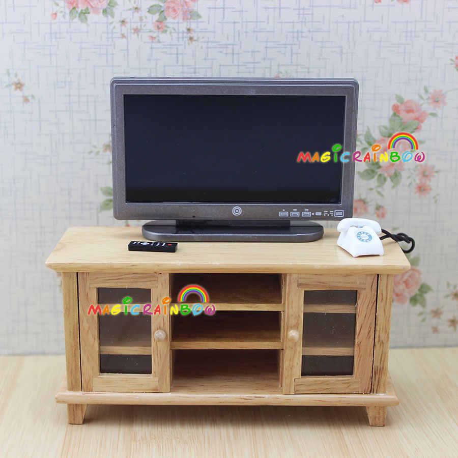 TV Cabinet Stand Table Wooden Toys Furniture Dolls House Handcrafted 1 12 scale dollhouse miniatures
