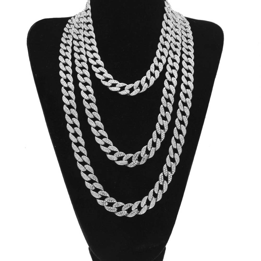 Top Quality Iced Out Bling Rhinestone Miami Cuban Link Chain Men s Hip hop  Necklace Jewelry 15mm. sku  32850311962 10a6b44c1277