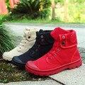 Novos homens Paládio Estilo Moda Primavera High-top lona Sapato da moda Botas Militares Ankle Boots Confortável Tamanho das sapatas dos homens 40-45