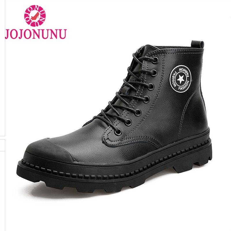 цены JOJONUNU Winter Men Real Leather Fur Warm Ankle Boots Fashion Lace Up High Top Boots Daily Shoes Male Footwear Size 38-44