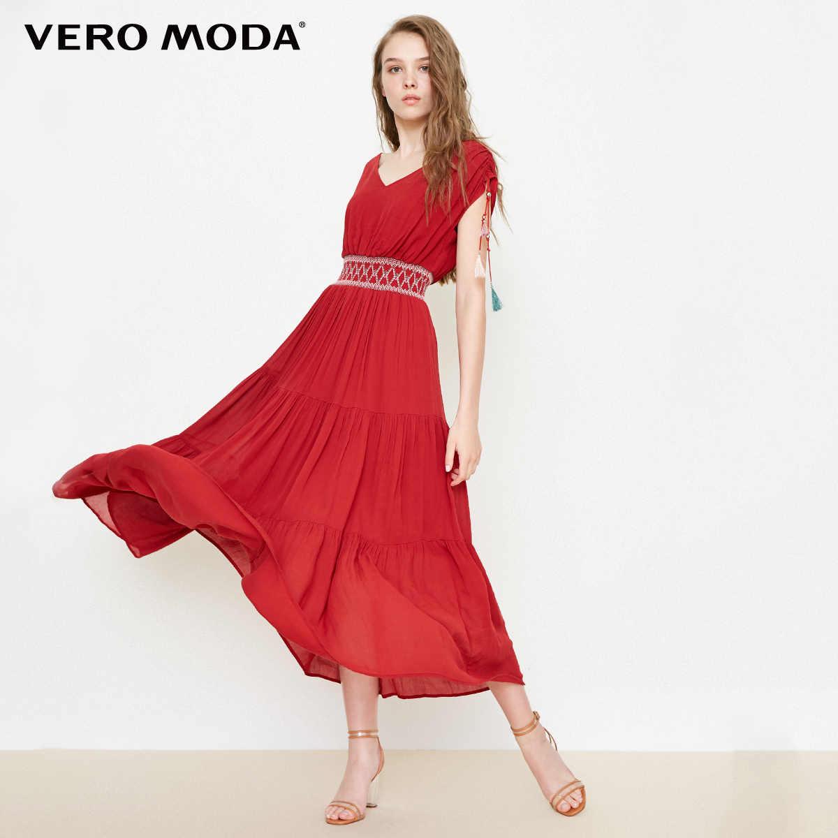 Vero Moda boho Стиль с v-образным вырезом Макси/длинное летнее пляжное платье 2019 | 31827A575