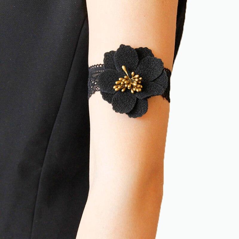 New Women Bracelet Boho Flower Core Elastic Black Lace Gothic Dance Party  Arm Band Armlet Armband 89184308ad59