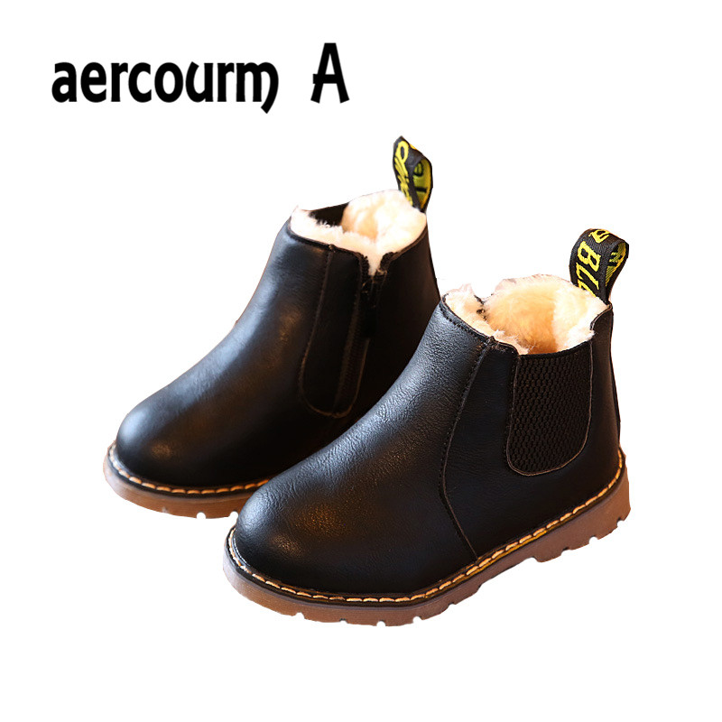 Aercourm A 2017 Autumn Winter New Comfortable Retro Girls boots Leather Martin Boys Boots Kids Boots