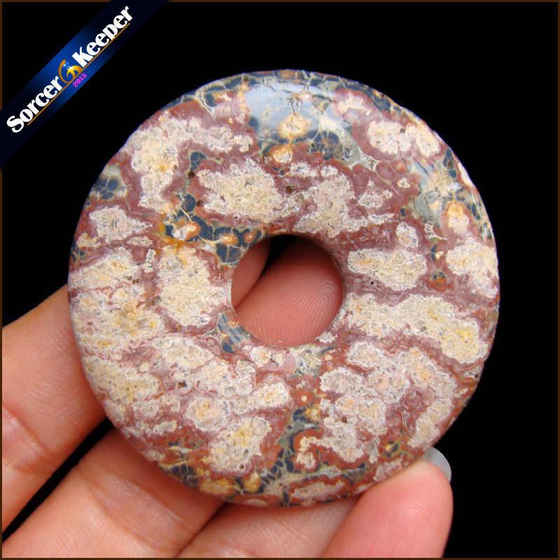 Forma redonda Donut Jaspers Natural Rainforest Pedra Moda Jóias Ágatas RS776 Ping Fivela Pingente de Colar Melhor Amigo Presente