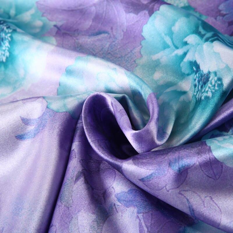 Satén de seda conjunto de sábanas edredón cubre colcha doble reina completa king size dormitorio decoración púrpura azul flor estilo chino - 6