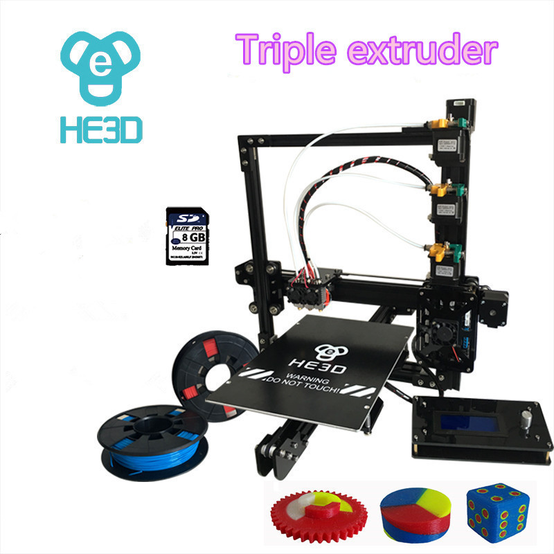 new upgrade 24V HE3D EI3 triple nozzle large print size 3D printer kit with 2rolls filament+8GB SD card as gift 2016 new 3d color printer kits large size 3dprinter with filament 2gb sd card