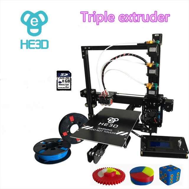 new upgrade 24V HE3D EI3 triple nozzle large print size 3D printer kit with 2rolls filament+8GB SD card as gift