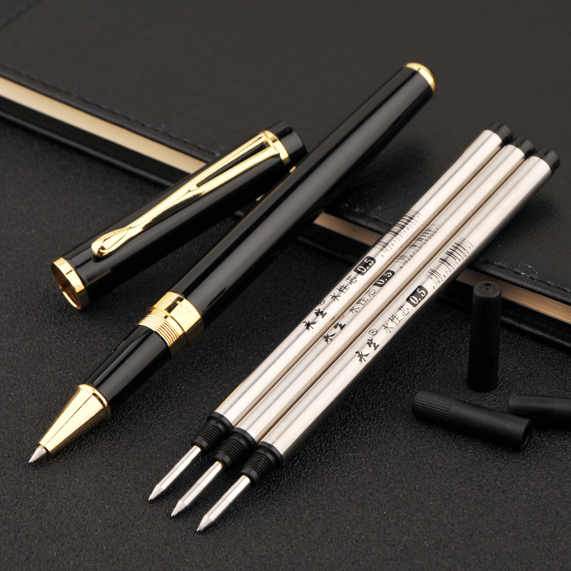 Wingsung 9131 Luxury Smooth Black and Gold Clip Rollerball Pen with 3 Refill 0.5mm Metal Ballpoint Pens Set for School Supplies все цены