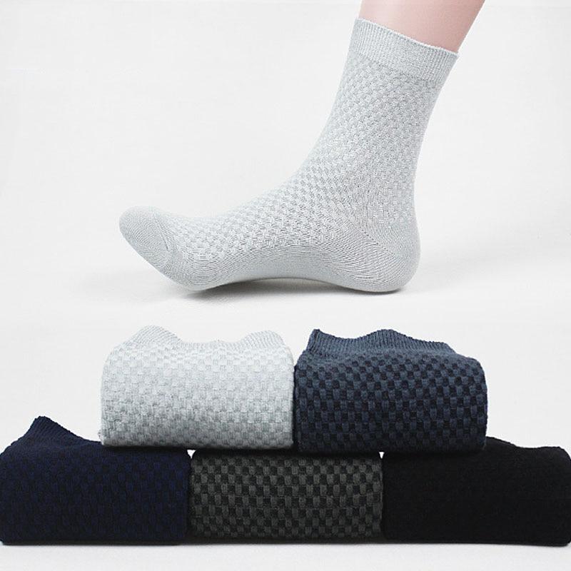 New 5 Colors Men Small Check Comfortable Business Sock Anti-Bacterial Deodorant Breatheable Socks