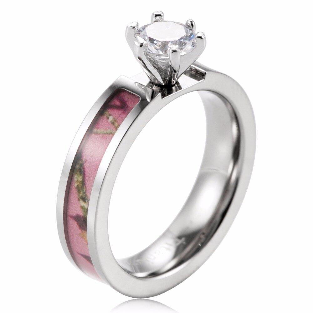 Pink Camo Engagement Ring Titanium Wild Tree Branch Engagement Wedding Band  6 Prong Setting Round Cz