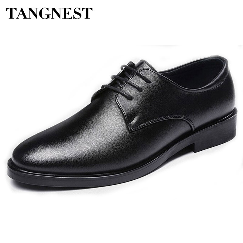 Tangnest Men's Formal Flats Pu Leather Solid Black Lace-up Business For Men Autumn Spring Round Toe Slip-on Wedge Shoes XMP624 new fashion men business office formal dress solid genuine leather shoes lace up pointed toe flats oxfords shoe spring autumn
