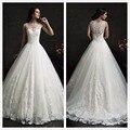 Vintage White Illusion Neckline Long Ball Gowns Princess Reception Dress Illusion Back Wedding Bridal Gown P6234
