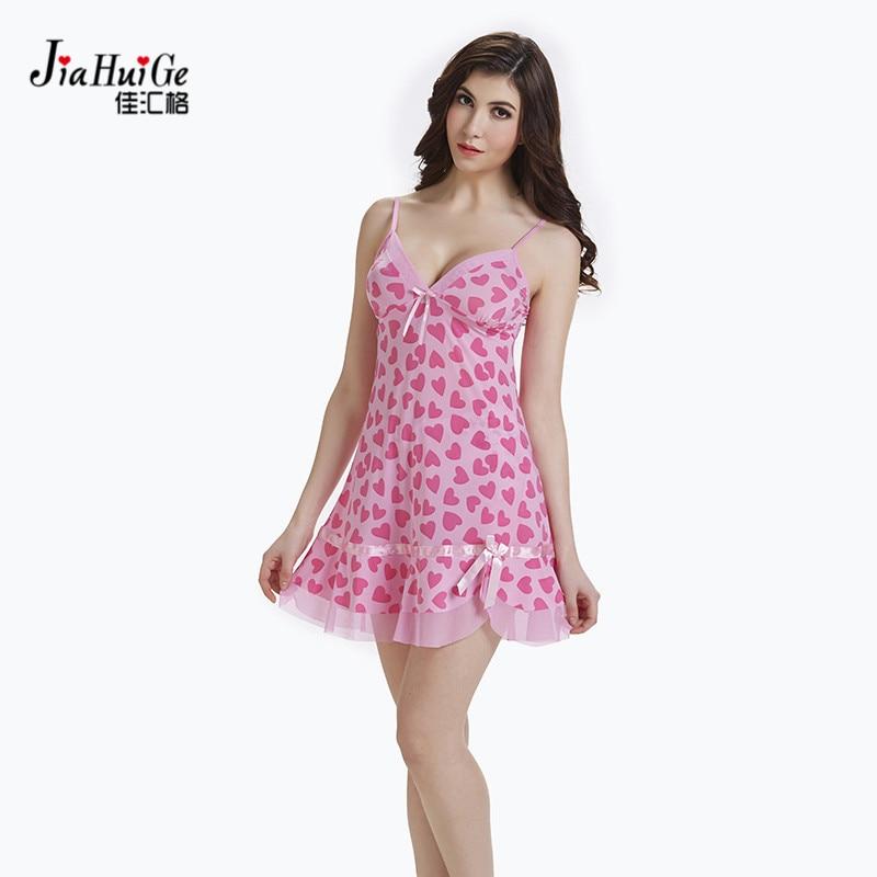 JiaHuiGe Summer Lace Woman Sleepwear Brand Sleeveless Nighties V-neck Women Lingerie   Sleepshirts   Sexy   Nightgowns     Sleepshirts