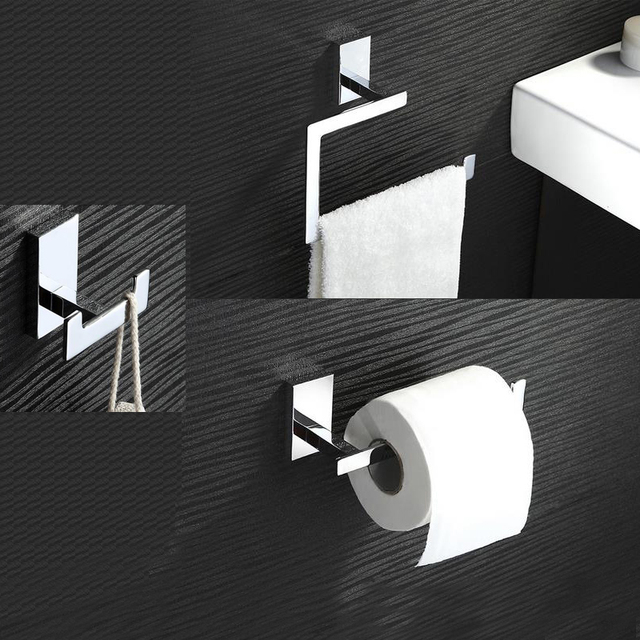 FIVE STARS CHROME MODERN WALL MOUNTED BATHROOM ACCESSORIES ACCESSORY 3  PIECE SET TOILET ROLLER TOWEL HOLDER