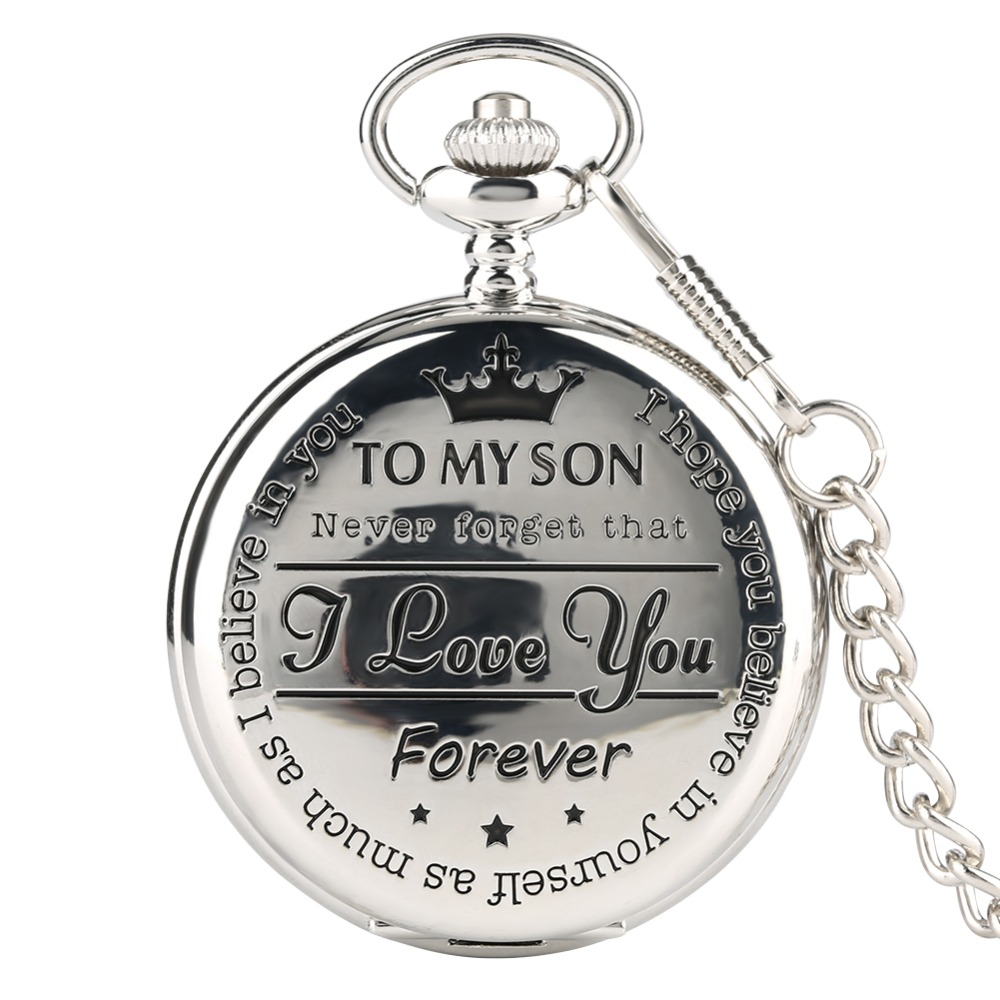 Pocket Watch Personalized Pattern Steampunk Retro Vintage Quartz Roman Numerals Pocket Watch 'TO MY SON' Boys Watch Gift