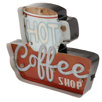 Coffee Vintage Funny Metal Tin Sign Retro Cafe Bar Home Decor Metal Plaque LED Light Box Bar Pub Poster