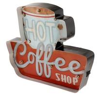 Coffee Vintage Funny Metal Tin Sign Retro Cafe Bar Home Decor Metal Plaque LED Light Box Bar Pub Poster
