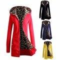 De Las nuevas Mujeres de Invierno Cálido Con Capucha Parka Abrigo Largo Outwear Jacket M-3XL Espesado Con Capucha de Terciopelo Jersey de Leopardo