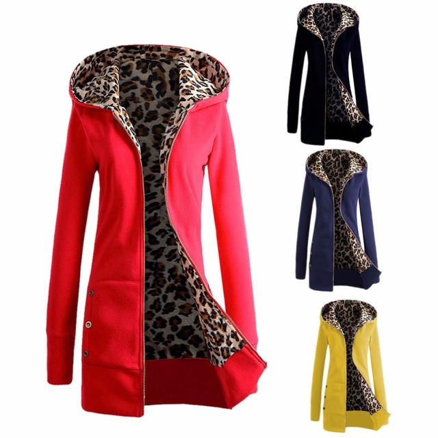 New Women's Warm Winter Hooded Parka Coat Overcoat Long Jacket Outwear M-3XL Thickened Velvet Hooded Leopard Sweater