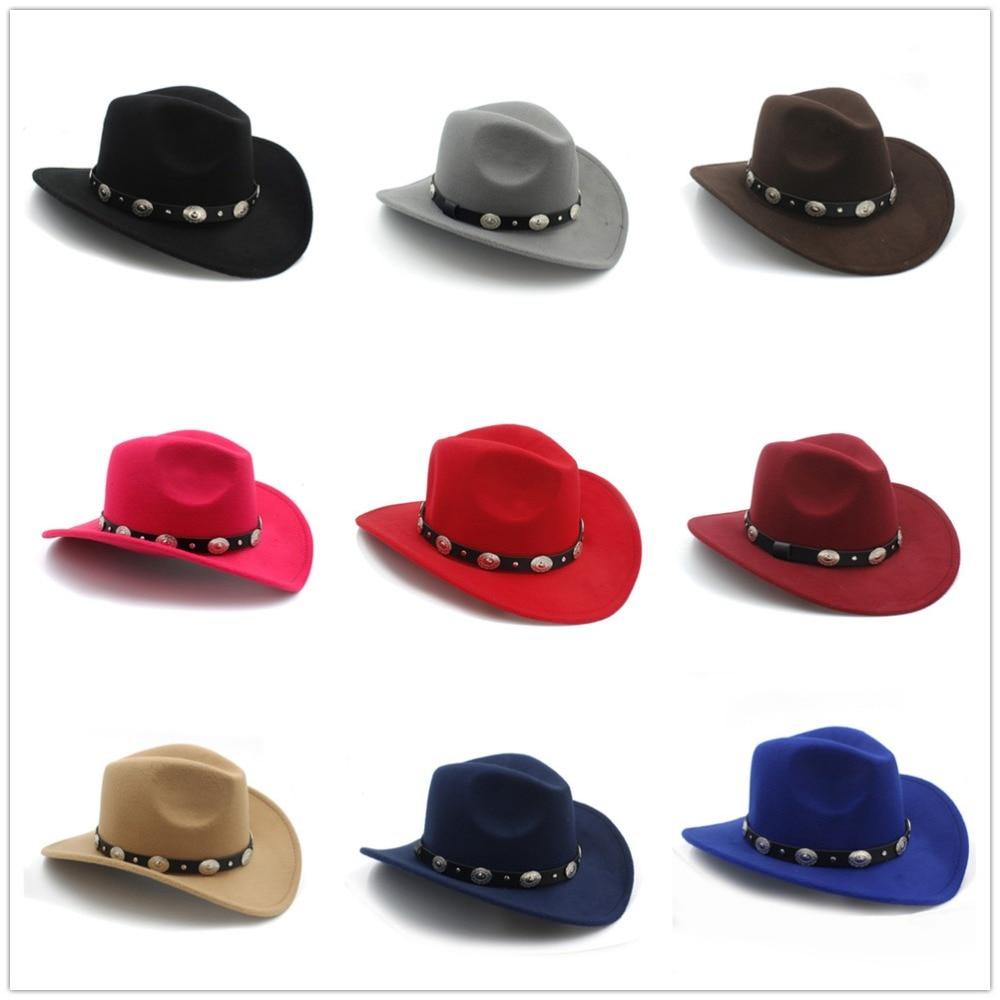 100 Wool Womem Men Western Cowboy Hat With Wide Brim Punk Belt