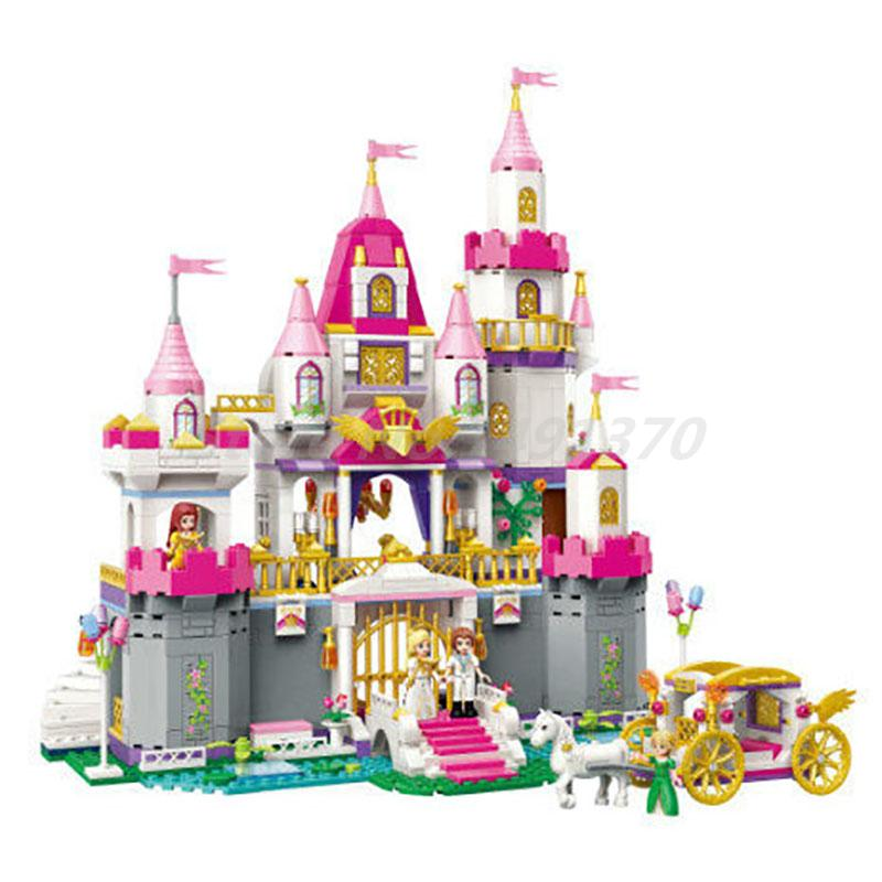 Girls Friends Princess Leah Angel Castle Celebration 4 Figures 940pcs Enlighten Building Block Bricks DIY Toys For Girl Gifts princess ponies 6 best friends for ever