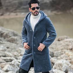 2018 Новинка зимы шерстяное пальто для мужчин длинный отрезок с капюшоном овечья стриженная Меховая куртка зимняя
