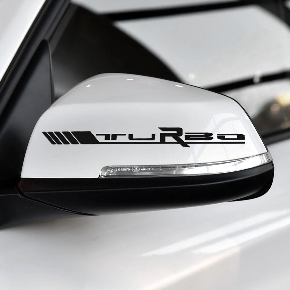2 pcs Side Rear View Mirror Vinyl Decal Sticker TURBO Logo For <font><b>Mercedes</b></font> Benz <font><b>AMG</b></font> Sport W204 W117 W176 W205 C63 A45 <font><b>CLA45</b></font> C117 image