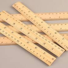 Regla de madera de 15cm, 20cm, 30cm, herramienta de medición de papelería para estudiantes de doble cara, suministros para escuela y oficina, 1 Uds.