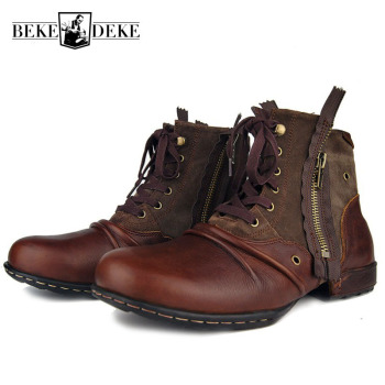 Plus Size Worker Men Cow Genuine Leather Safety Shoes Zipper Designer Ankle Boots Vintage Round Toe High Top Lace Up Biker Boots