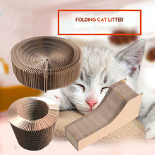 2018 New Style Cat Kitten Scratcher Lounge Bed Pad Premium Collapsible Recycled Corrugated Cardboard Scratching Toy with Catnip(China)