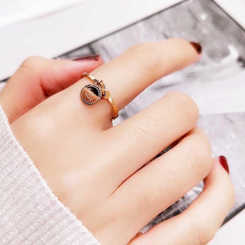 YUN RUO คริสตัลจี้คริสตัลโชคดีแหวน Rose Gold สีแฟชั่นไทเทเนียมเหล็กเครื่องประดับวันเกิดของขวัญผู้หญิงไม่ fade