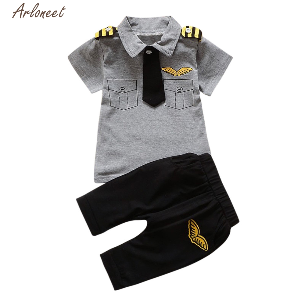 TELOTUNY Baby Girl Clothes Unisex Newborn Infant Baby Boys Girls Gentleman Tie Tops Shirt Pants 2Pcs Outfits Set Y120830