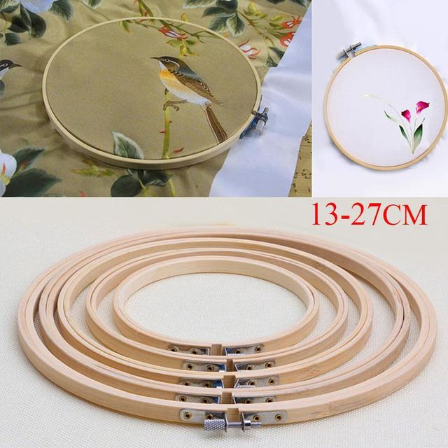 Prático 13-27 cm Cross Stitch Máquina de Bordar Hoop Anel de Armação De Bambu Rodada Mão Ferramenta DIY Agulha de Costura do Agregado Familiar EH