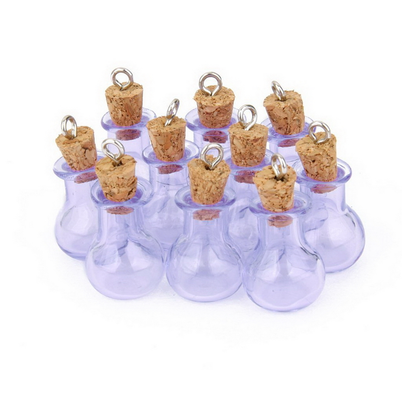 10pcs Glass Cork Bottles Flat Bulb Vial Wishing Bottle DIY