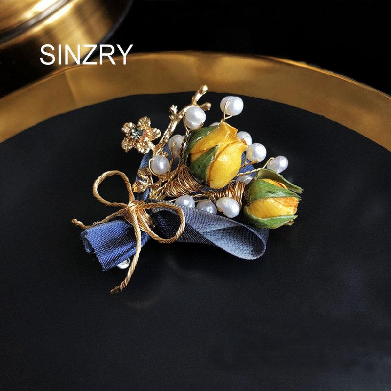 Doce da Pérola Broche de Flor para o Sexo Bobinamento Sinzry Nova Original Handmade Natural Água Broche Pin Preservada Subiu Feminino