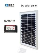 Xinpuguang 5W 18V Solar Panel Glass Module Mono Silicon Cell 12V 24V 10A Controller for 12V Battery LED Light Lamp Garden Charge
