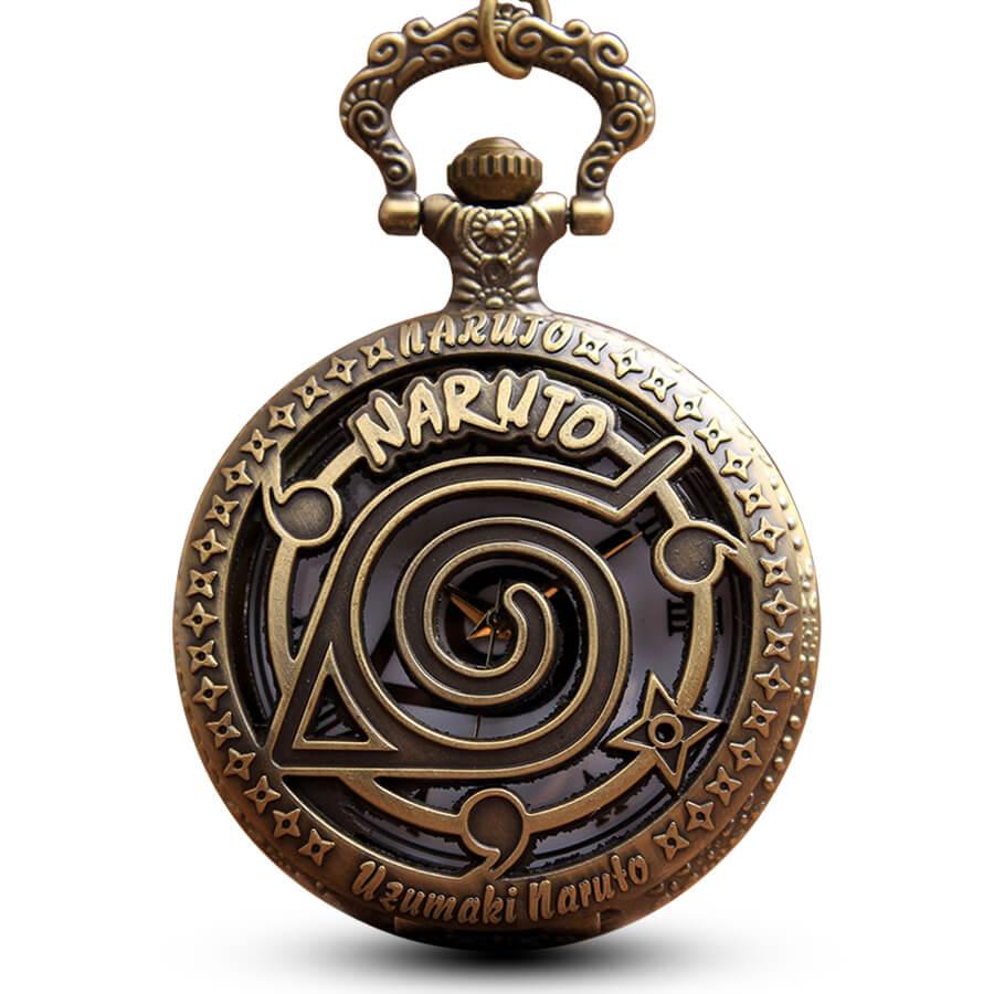 Anime NARUTO Pocket Watch Chains Necklace Bronze Hollow Quartz Pocket Watches Steampunk For Women Men Gifts Reloj De Bolsillo