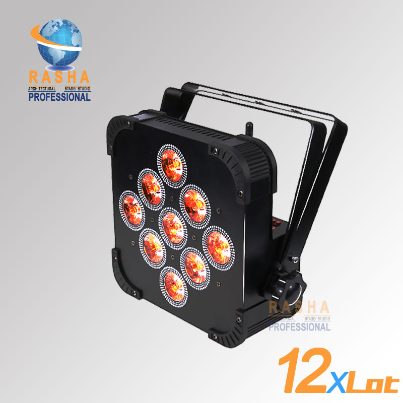 12X LOT Hot Sale 9pcs*15W RGBAW Battery Powered Wireless LED Flat Par Light With DMX512,ADJ LED Par Can For Event Wedding Party