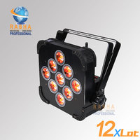 12X LOT Hot Sale 9pcs*15W RGBAW Battery Powered Wireless LED Flat Par Light With DMX512,ADJ LED Par Can For Event Wedding Party