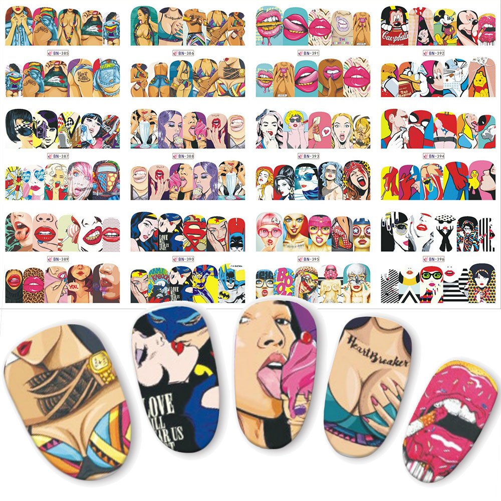 12 sets nail sticker Pop water transfer nails decals beauty decor nail slider cool girl lips manicure art BN385-396 12 sheets halloween nail art water transfer sticker deer full cover decals skull fancy stickers wrap tips decoration a1093 1104