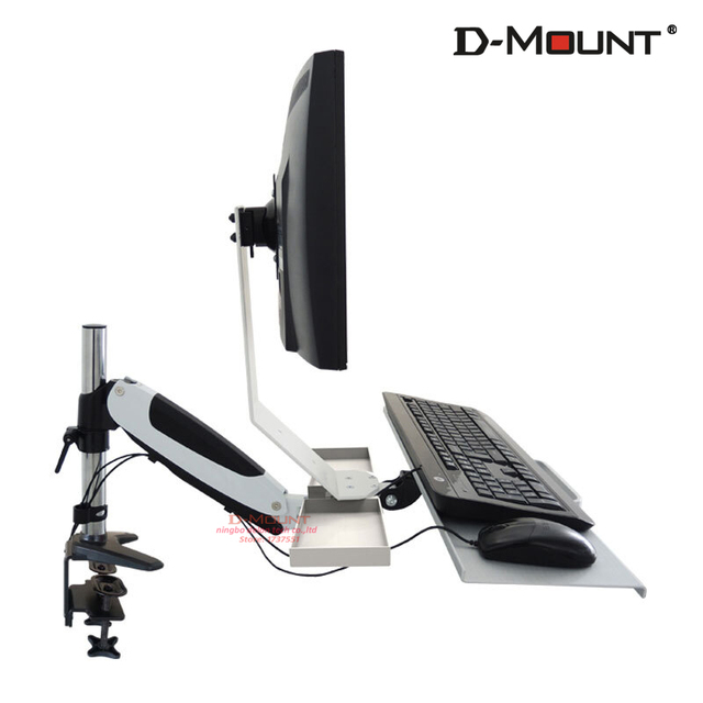 "D-MOUNT DL-JF08 aircraft aluminum cold rolled steel 13""-27"" monitor mount +keyboard support stand"