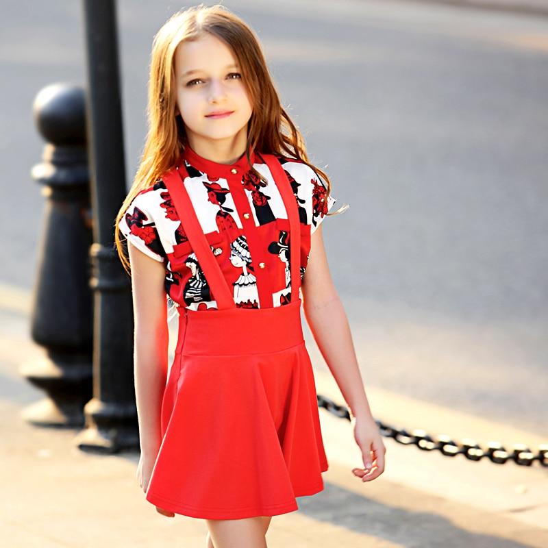 Cute Teenage Girls Dress Summer Casual Girl Birthday Dress Chiffon Blouse Shirtcotton Dress Clothing Sets For Teens Girl Fc6026
