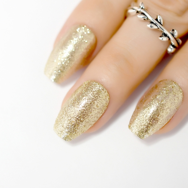Square Glittery Coffin Light Gold Fake Nails Full Cover Glitter Sparkly Diy Acrylic Nail Art Tips