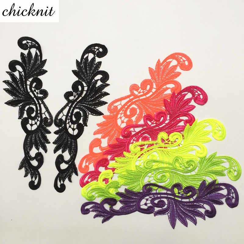 CHICKNIT 1 пара флуоресцентных цветов вышивка цветок кружево Аппликация патч для шитья Танго латинский танец балетные костюмы платье DA004