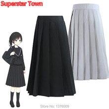 Sweet Girls Pleated Skirt Japanese Student Lolita JK Uniform School Solid Skirt Vintage Women Knee Length Preppy Style Skirts